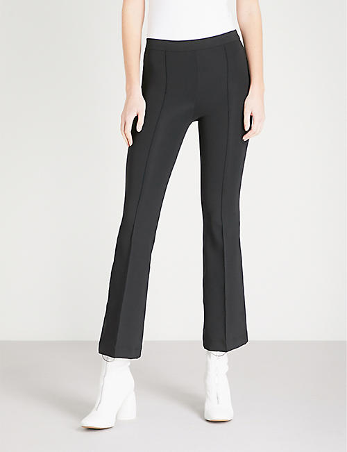 Flared cropped slim-fit stretch trousers