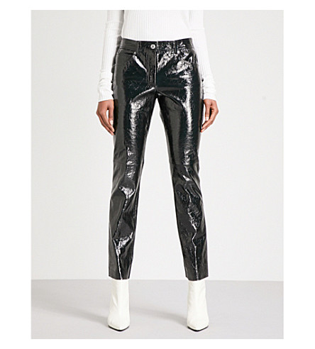 HELMUT LANG Straight patent-leather trousers (Black