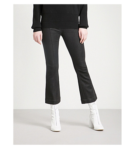HELMUT LANG Coated flared high-rise jeans (Black