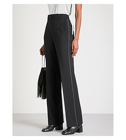 HELMUT LANG Zip-detailed wide high-rise stretch-wool trousers (Black