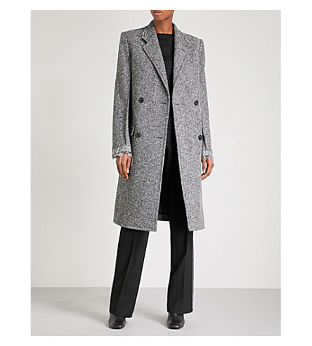HELMUT LANG Deconstructed double-breasted wool-blend coat (Melange+grey