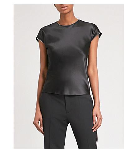 HELMUT LANG Zip-detail silk-satin top (Black