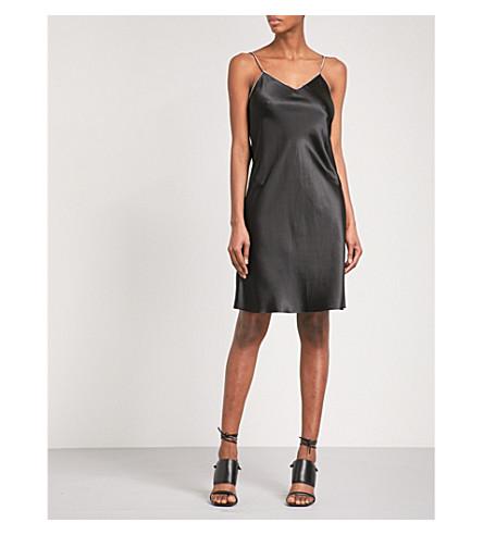 HELMUT LANG Zip-detail silk-satin slip dress (Black