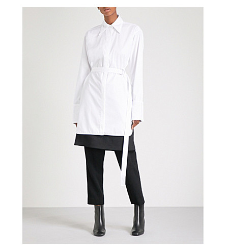HELMUT LANG Striped cotton-poplin shirt dress (Optic+white