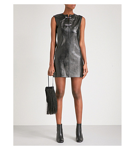 HELMUT LANG Safety Pin leather mini dress (Black