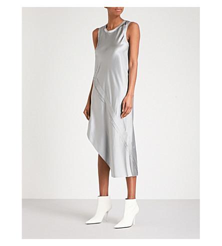 HELMUT LANG Metallic silk midi dress (Grey+pebble