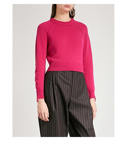 HELMUT LANG Stepped-hem cropped cashmere jumper (Magenta