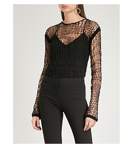 HELMUT LANG Siouxie cotton-blend mesh top (Black