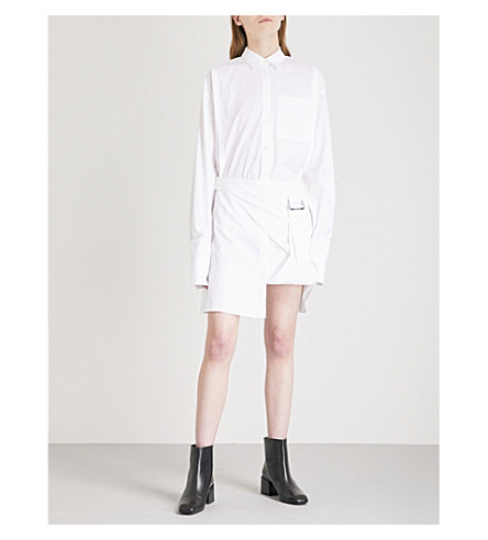 HELMUT LANG Layered cotton shirt dress (Optic+white