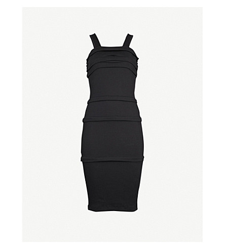 HELMUT LANG Ruched sleeveless cotton dress (Black