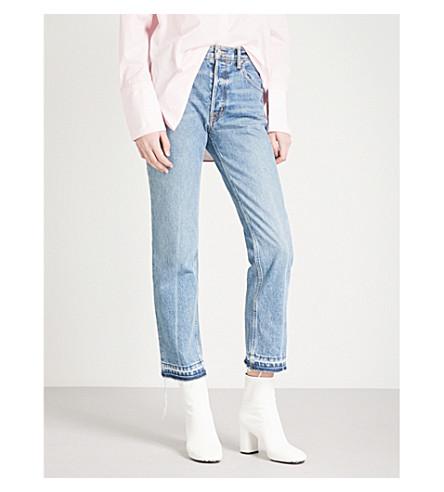 HELMUT LANG Distressed-hem straight mid-rise jeans (Light+blue
