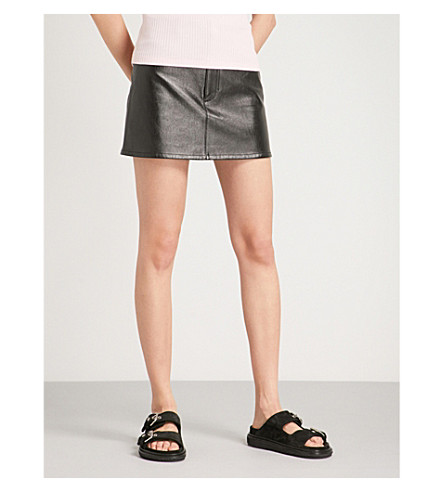 HELMUT LANG High-rise leather mini skirt (Black