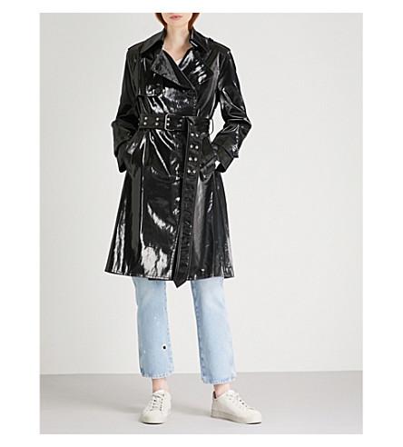 HELMUT LANG Flasher patent cotton-blend trench coat (Black