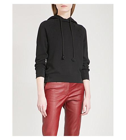 HELMUT LANG Distressed cotton-jersey hoody (Black