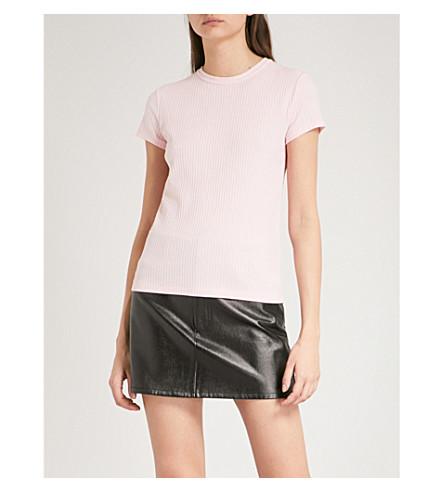HELMUT LANG Ribbed cotton T-shirt (Hortensia