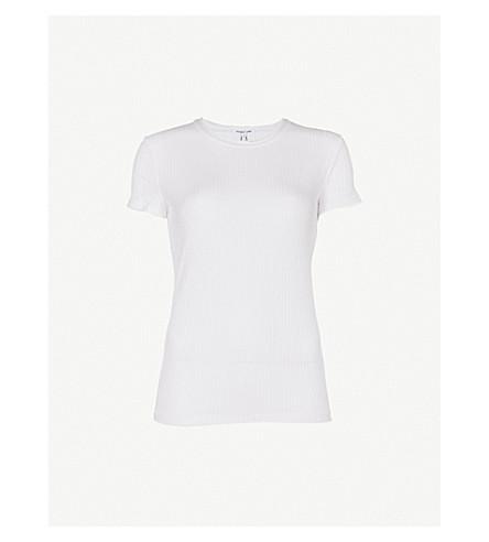 HELMUT LANG Ribbed cotton T-shirt (Optic+white