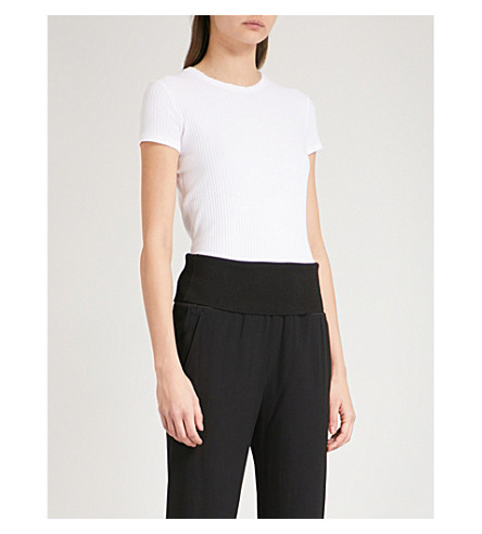 HELMUT LANG Ribbed cotton T-shirt (Optic+white