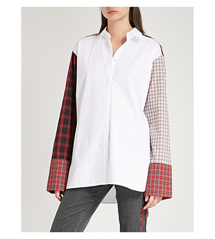 HELMUT LANG Patchwork-panel oversized cotton shirt (Optic+white