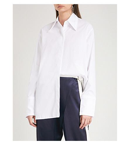 HELMUT LANG Cutout oversized cotton shirt (Bright+white