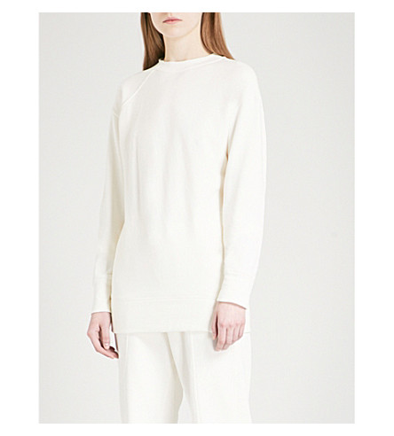 HELMUT LANG Deconstructed cotton-jersey sweatshirt (Raffia