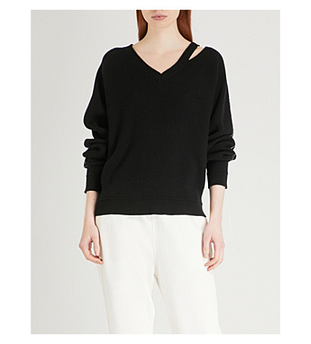 HELMUT LANG Distressed cotton, wool and cashmere-blend jumper (Black