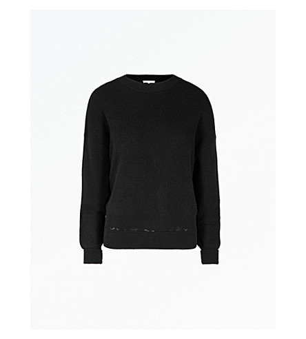 HELMUT LANG Ribbed cotton, wool and cashmere-blend sweatshirt (Black