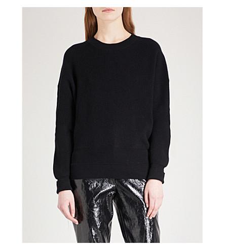 HELMUT LANG 肋棉, 羊毛和羊绒混纺运动衫 (黑色