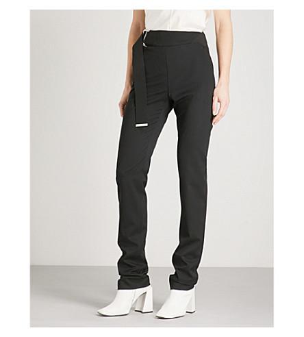 HELMUT LANG Belt-panel straight high-rise wool trousers (Black