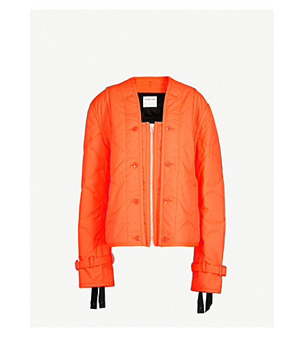 HELMUT LANG Square-neck quilted shell jacket (Safety orange