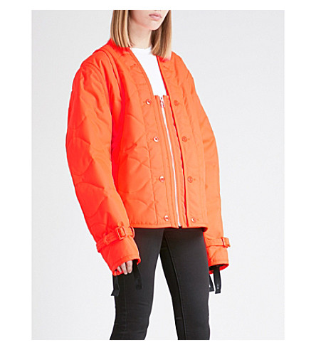HELMUT LANG Square-neck quilted shell jacket (Safety+orange