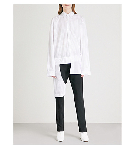 HELMUT LANG Chaps-panel striped cotton shirt (White