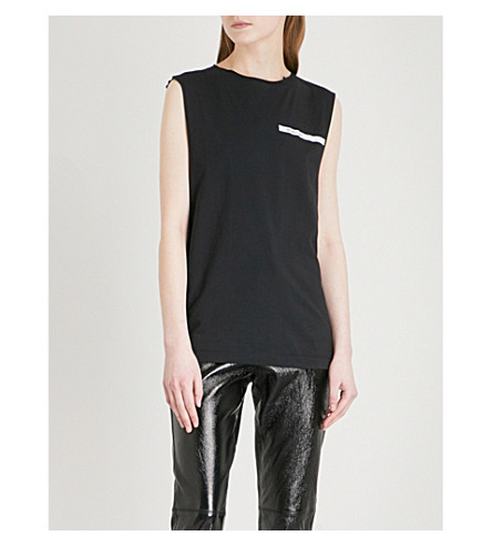 HELMUT LANG Logo-print sleeveless cotton-jersey top (Black/white