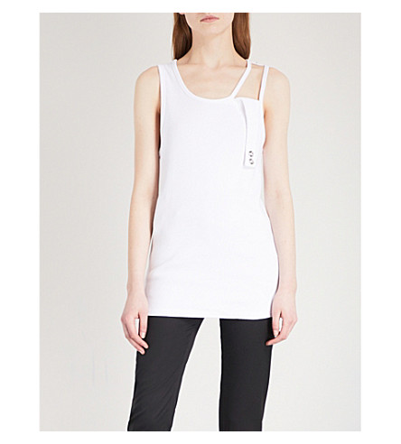 HELMUT LANG Cutout strap stretch-cotton vest top (Optic+white