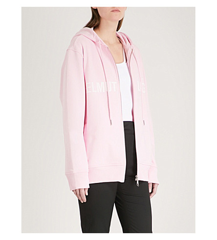 HELMUT LANG Logo-embroidered cotton-blend hoody (Perfect+pink
