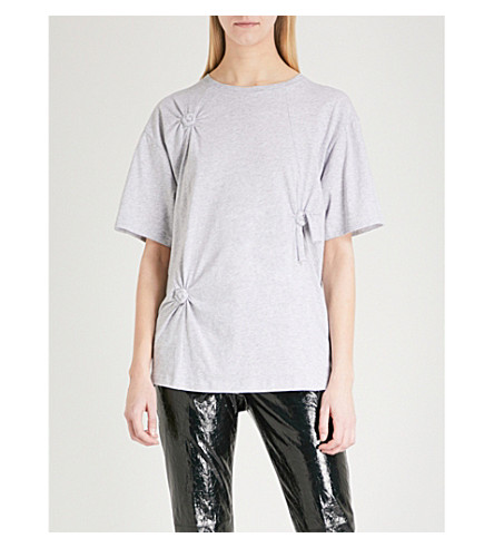 HELMUT LANG Knotted cotton-jersey T-shirt (Grey+melange