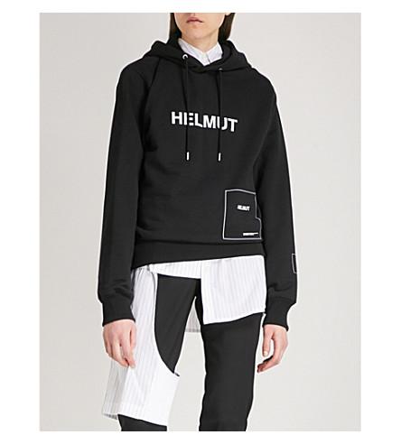 HELMUT LANG Index cotton-blend hoody (Black/white