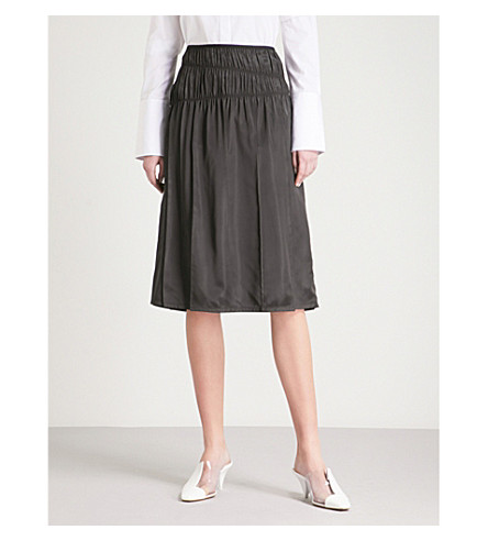 HELMUT LANG Ruched high-rise satin skirt (Black