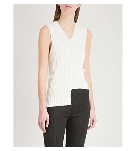 HELMUT LANG Slash ribbed-knit vest (Cotton+ball