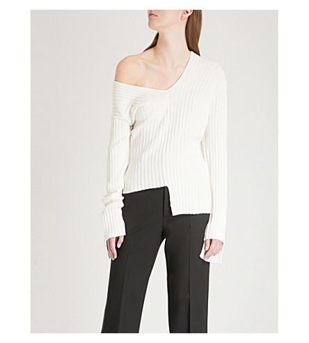 HELMUT LANG Mismatched ribbed-knit jumper (Cotton+ball
