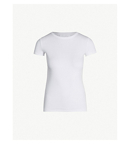 HELMUT LANG Ribbed cotton-jersey T-shirt (Optic+white