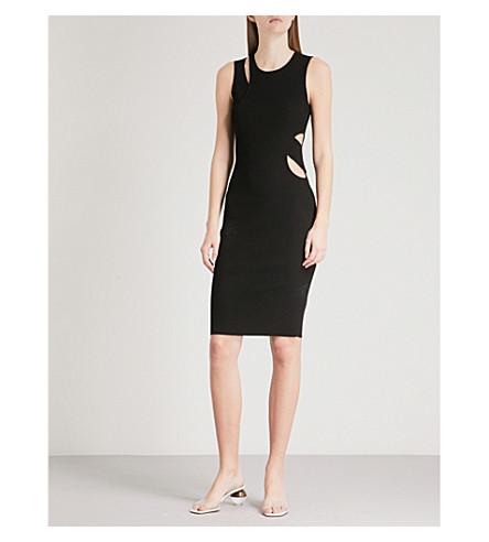 HELMUT LANG Cutout ribbed-knit dress (Black