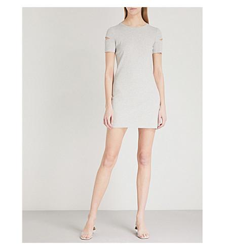 HELMUT LANG Cutout cotton-jersey mini dress (Heather+grey