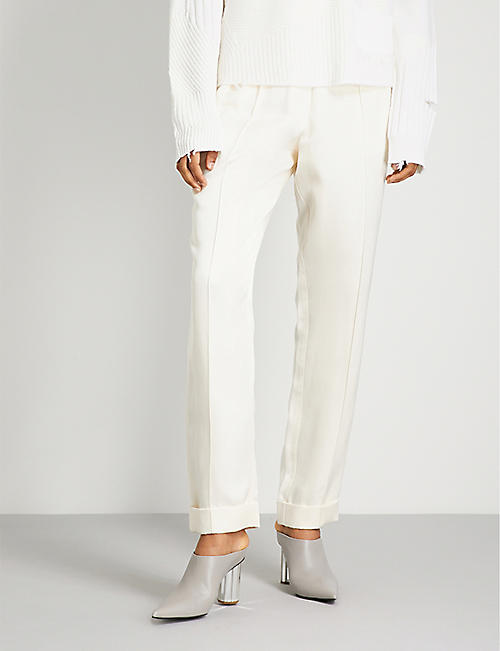 Straight-leg silk-blend trousers