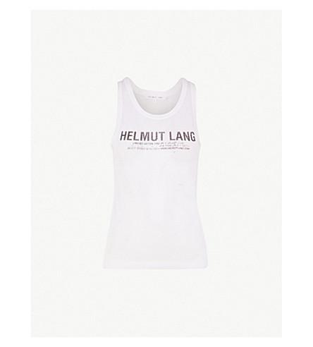 HELMUT LANG 徽标打印弹力平纹针织网柜顶部 (白色