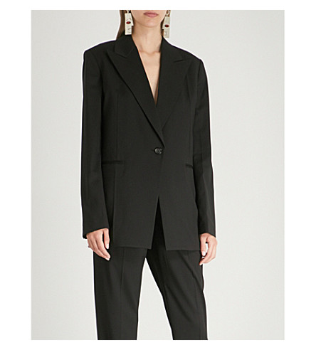 HELMUT LANG Padded-shoulder wool blazer (Black