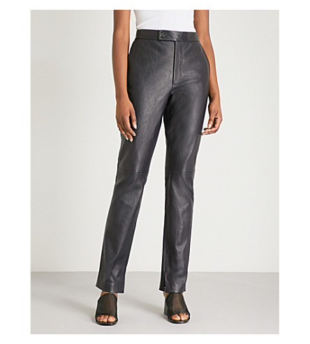 HELMUT LANG Tapered high-rise leather trousers (Nightfall