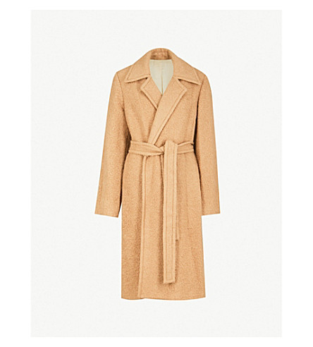 HELMUT LANG Felted alpaca and wool-blend wrap coat (Camel