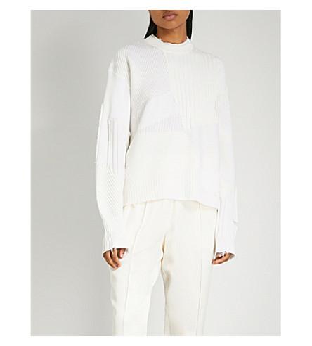 HELMUT LANG Contrast-panel wool-blend jumper (Ivory