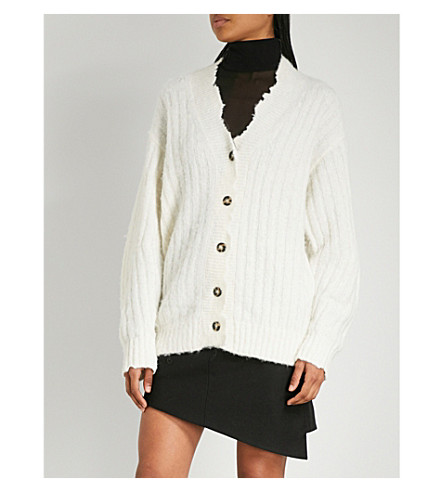 HELMUT LANG Distressed-trim knitted cardigan (Ivory