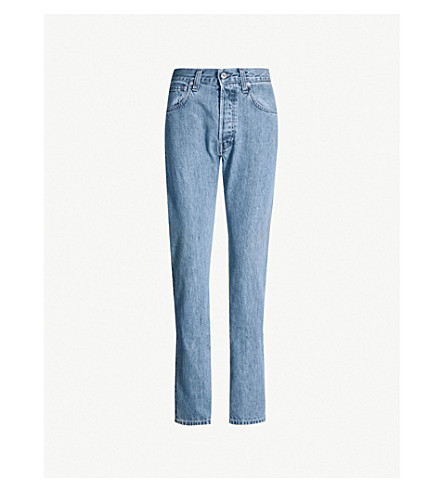 HELMUT LANG Faded straight high-rise jeans (Indigo